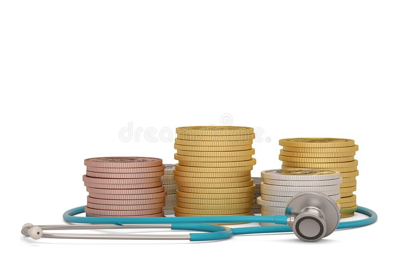 Gold coins with stethoscope isolated on white background. 3D illustration.  royalty free illustration