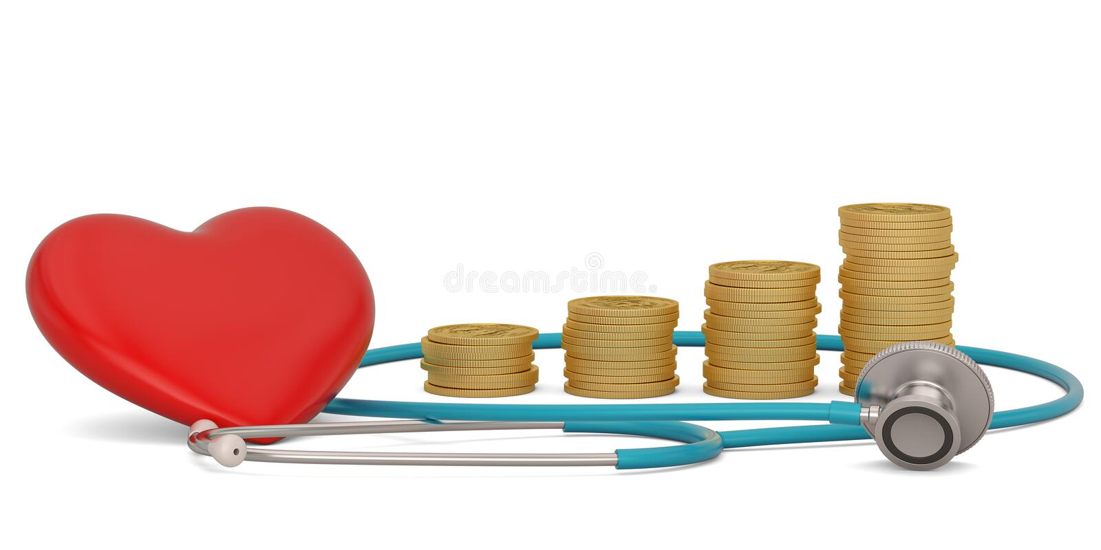 Gold coins  with stethoscope isolated on white background. 3D illustration. Gold coins with stethoscope isolated on white background. 3D illustration vector illustration