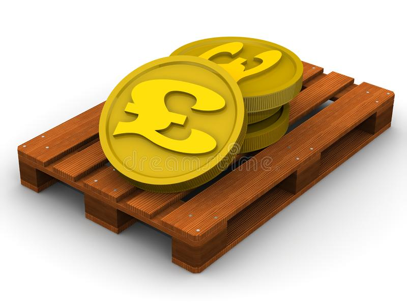 British Pounds on the pallet royalty free illustration