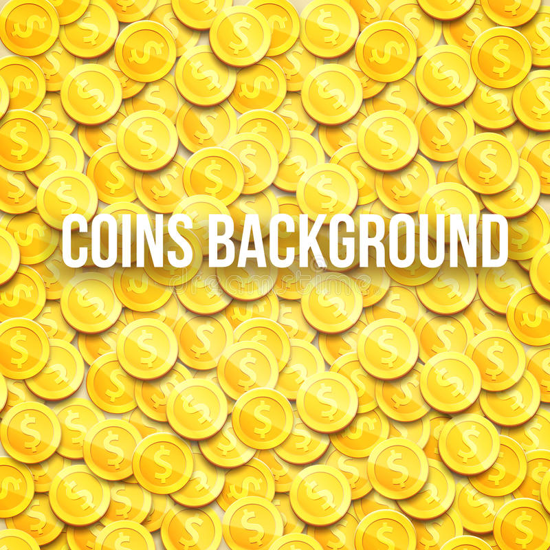 Gold coins top view background with place for text eps 10. Vector illustration stock illustration