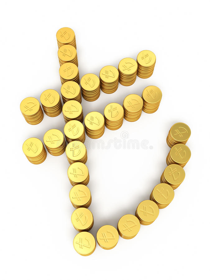 Gold coins Turkish lira signs royalty free stock images
