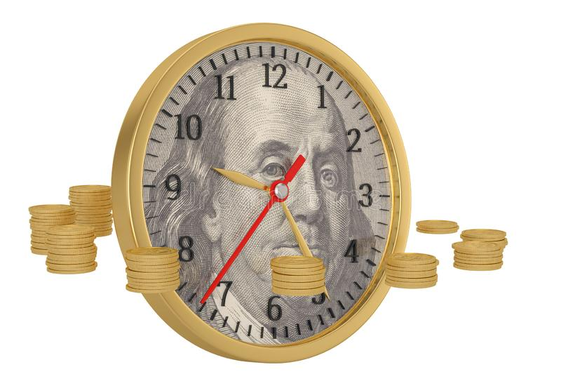 Gold coins and US dollar clock isolated on white background. 3D illustration.  stock illustration
