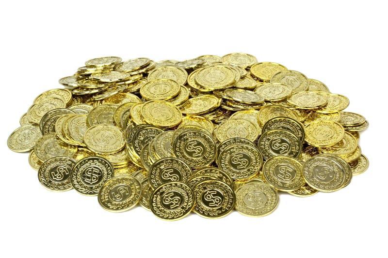 Gold coins in a velvet pouch. stock photos