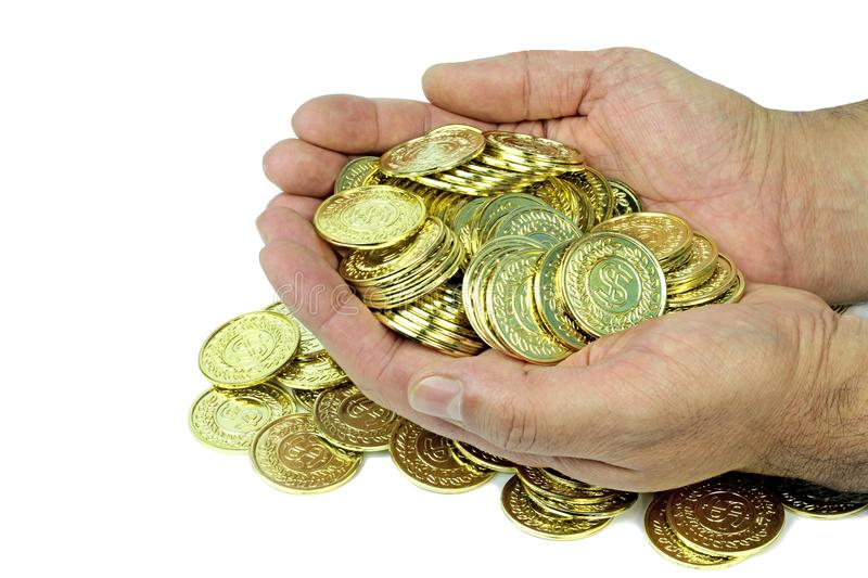 Handful gold coins  stock images