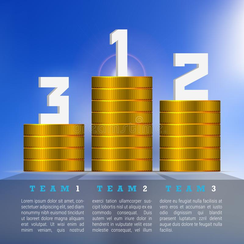 Gold Coins Winning Podium with Numbers 1, 2, 3. Business Success Concept royalty free illustration