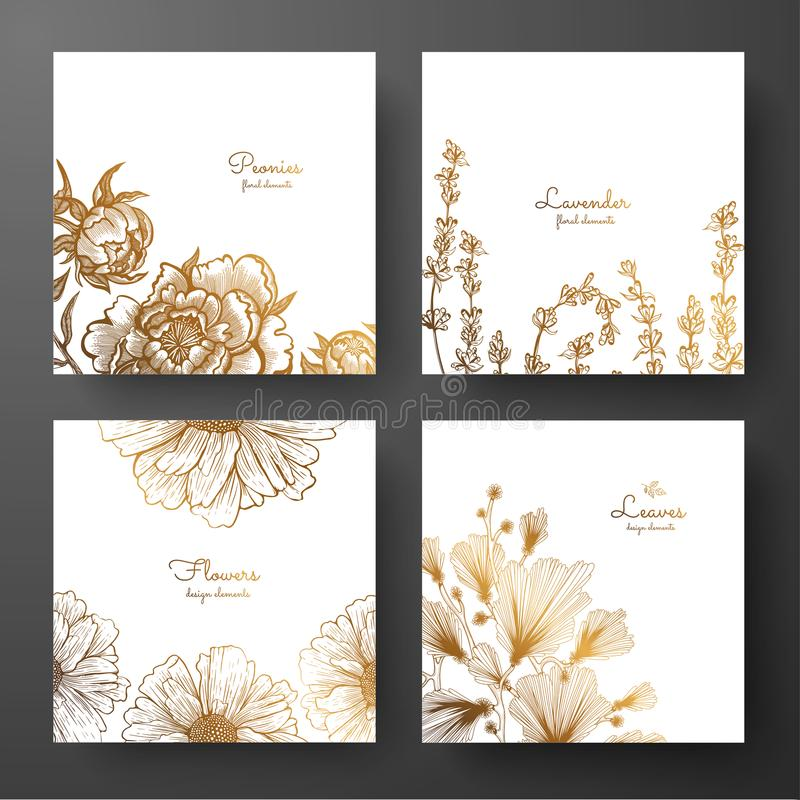 Gold collection of cards design with peonies, lavender, chamomile and leaves of ginkgo biloba. Template frame for birthday and gre royalty free illustration