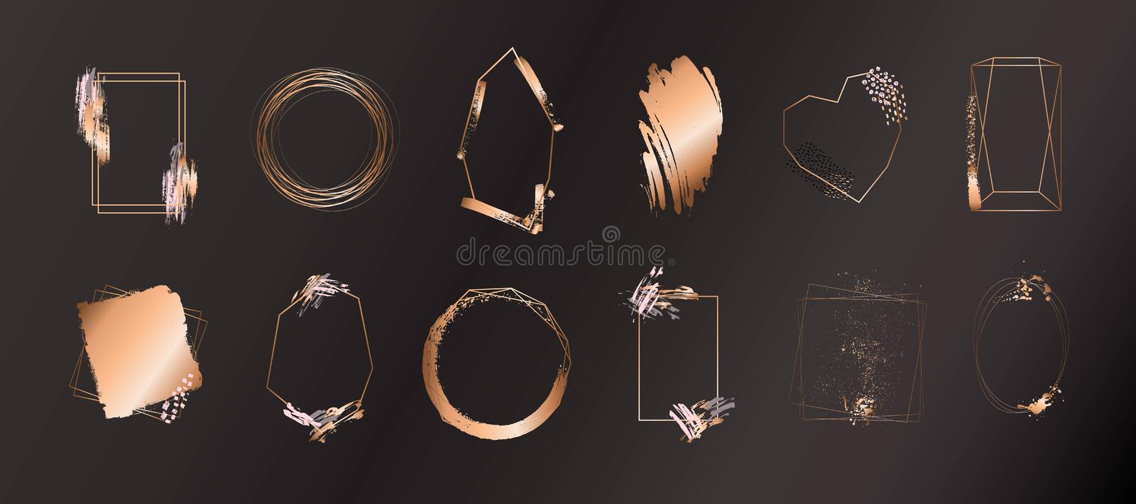 Gold collection of geometric frame. Decorative element for logo, branding, card, invitation. royalty free illustration