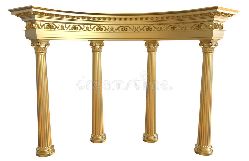 Gold colonnade. 3d render of gold colonnade on a white background vector illustration
