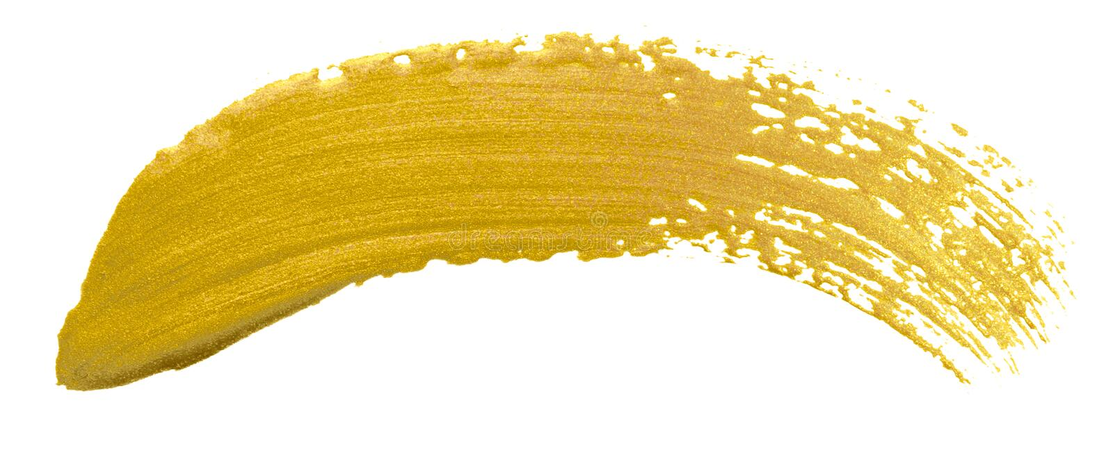 Gold color paint brush banner. Acrylic golden smear stroke stain on white background. Shine abstract detailed gold glittering text royalty free stock photography