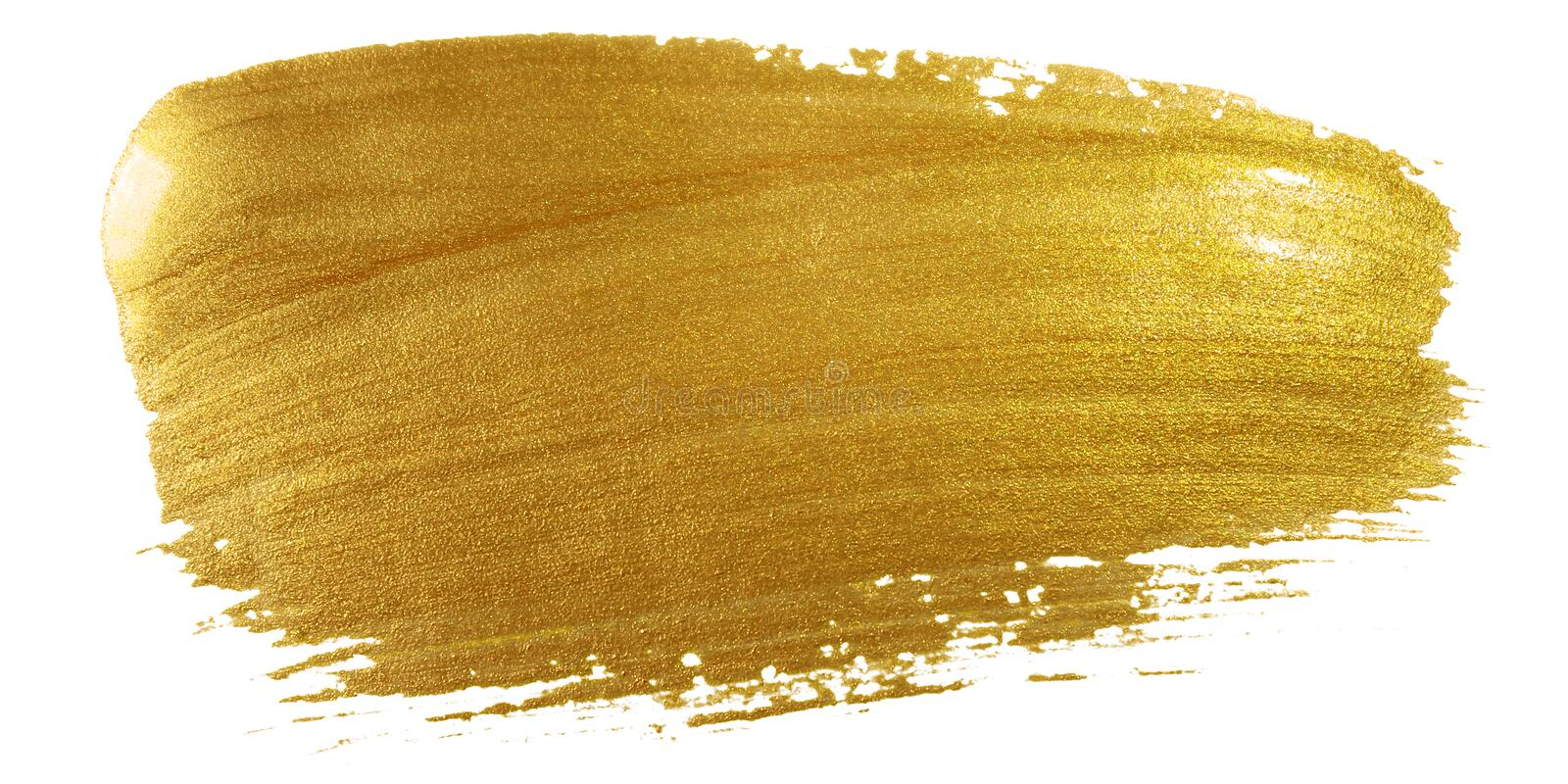 Gold color paint brush stroke. Big golden smear stain background on white backdrop. Abstract detailed gold glittering textured wet. Paint stroke for Christmas royalty free stock images