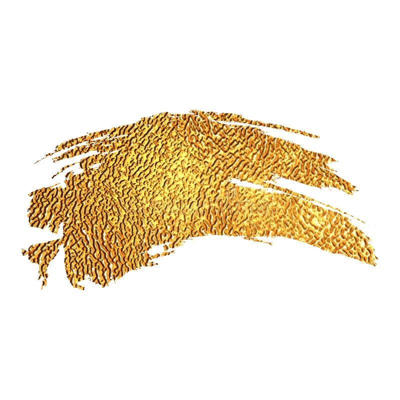 Gold color paint brush stroke royalty free illustration