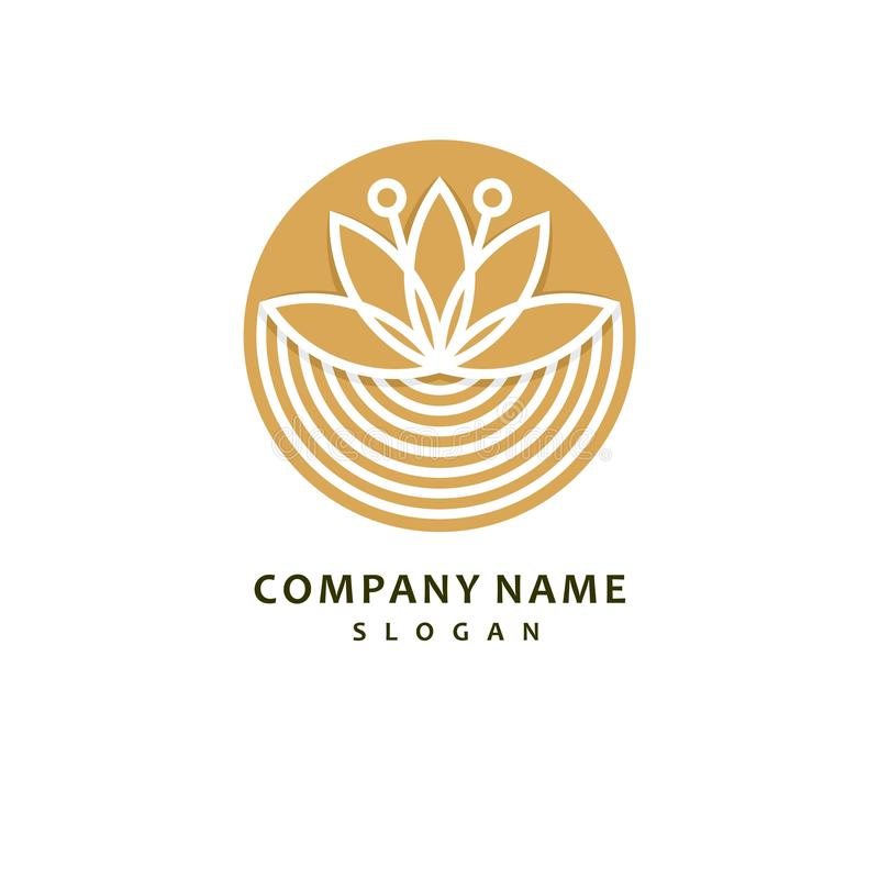 Gold color royal lotus flower for health luxury industry logo idea design illustration royalty free illustration
