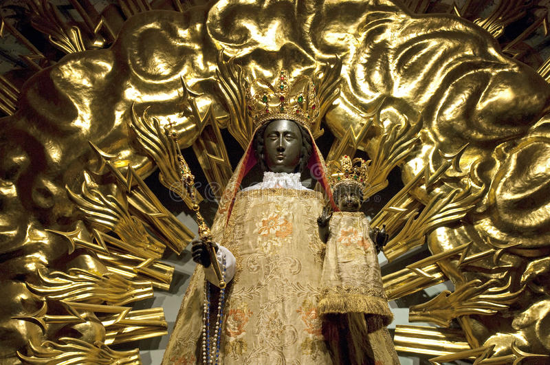 Gold colored Black Madonna in Fribourg. Switzerland, Switzerland: Fribourg or Freiburg im Uechtland [city in the Swiss canton of Fribourg, district Sarina or royalty free stock photo