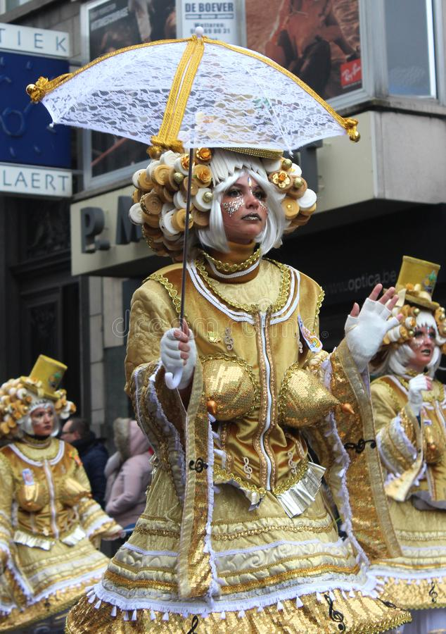 Gold Colored Carnival Costumes, Belgium royalty free stock photo