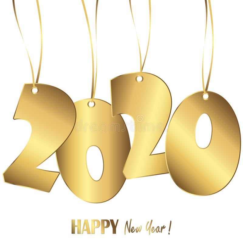 Hanging numbers new year 2020. Gold colored hang tag numbers for New Year 2020, years, eve, day, celebration, beginning, happy, fireworks, holiday, pendant stock illustration