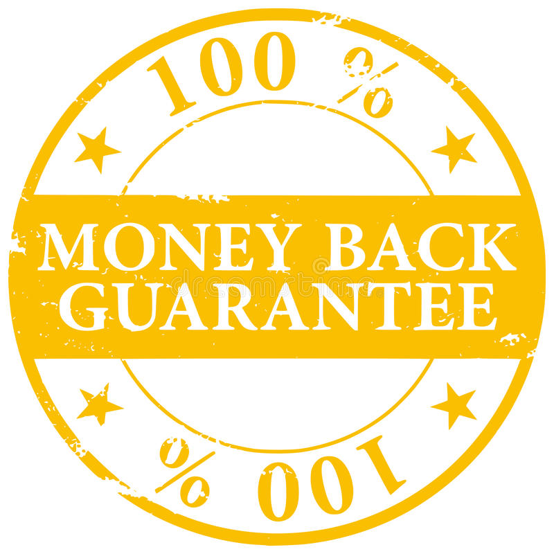Gold colored 100% Money Back Guarantee grunge rubber stamp icon stock illustration