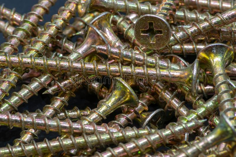 Pile of Wood Screws 2 stock images