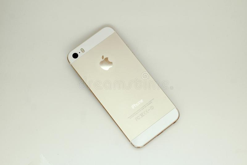 Gold colour colour Apple iPhone stock photography