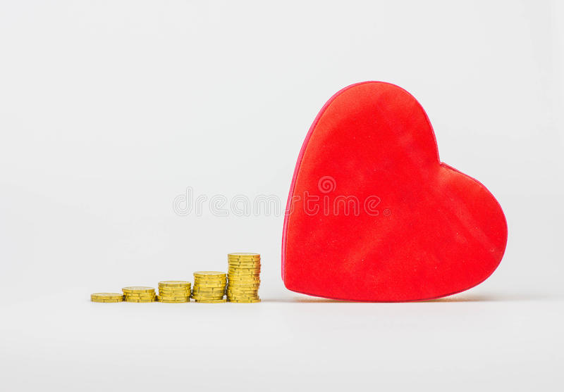 Gold, the colour of love. Money and love stock images