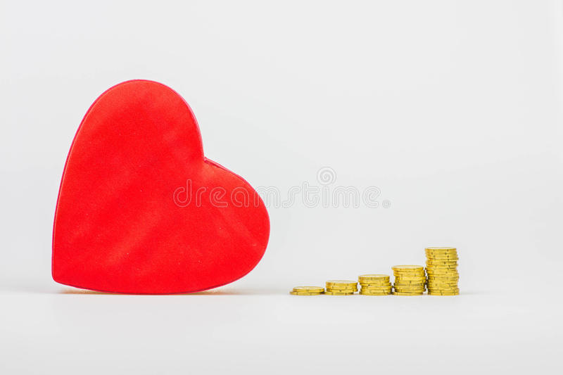 Gold, the colour of love. Money and love royalty free stock images