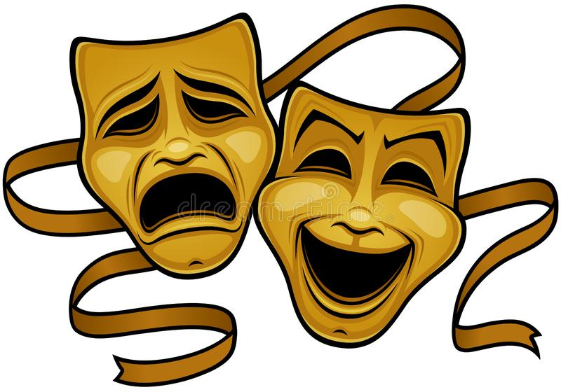 Gold Comedy And Tragedy Theater Masks royalty free illustration