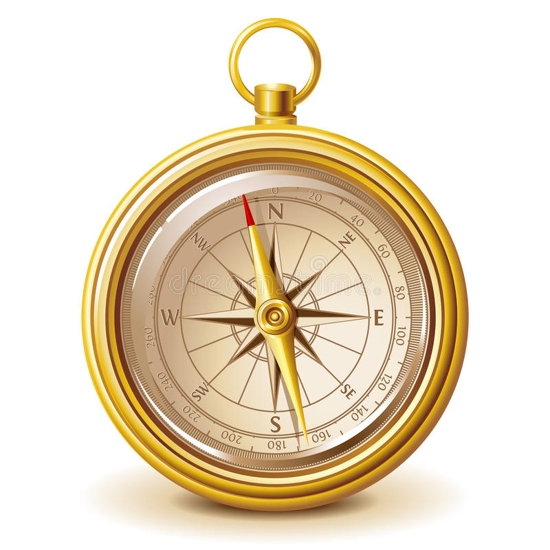Gold compass royalty free stock photography