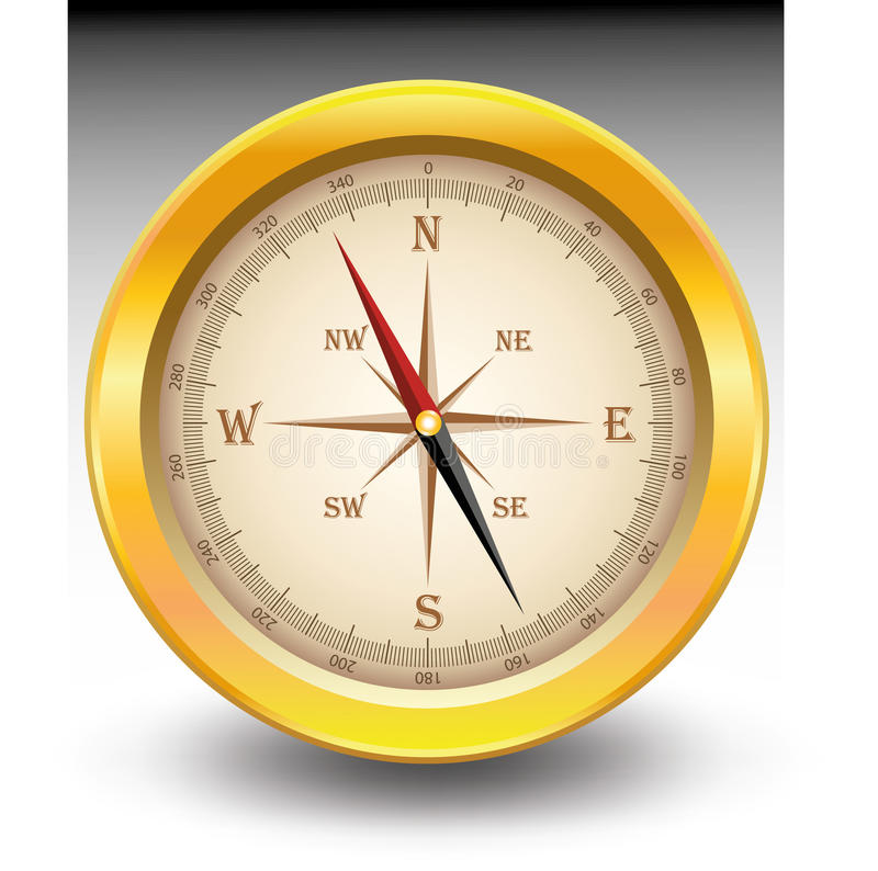 Download Gold compass stock illustration. Image of latitude, brown - 21382159