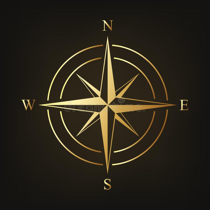 Gold compass icon. Vector illustration. Compass sign on dark background stock illustration