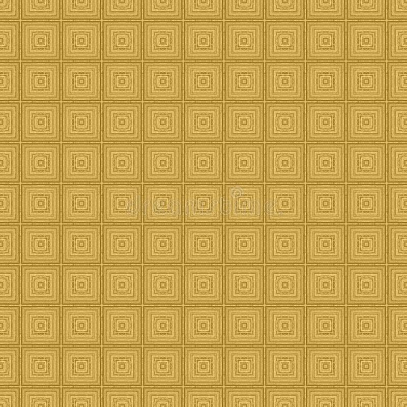 Gold concentric square detailed seamless textured pattern background. Gold concentric square detailed seamless and repeat textured pattern background royalty free stock photos