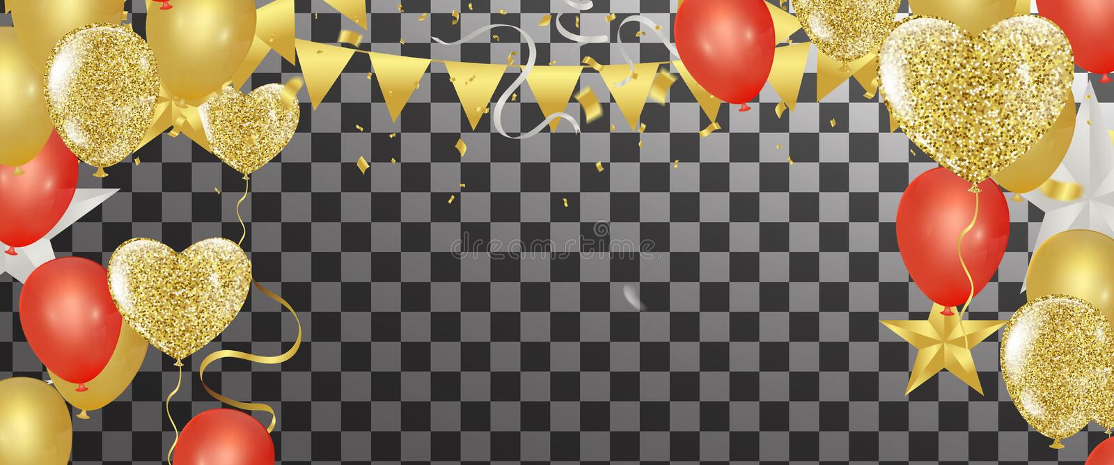 Gold confetti celebration party banner with Gold balloons background anniversary graduation retirement holiday stock illustration