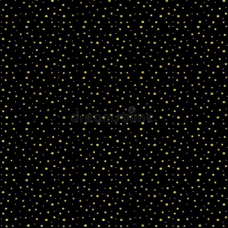 Gold dots geometric on black background, Gold confetti texture. Glitter dots pattern. Glitter Geometric Wallpaper royalty free illustration