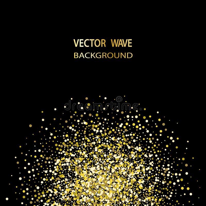 Gold confetti glitter on black background. Abstract gold dust glitter background. Golden explosion of confetti. vector illustration