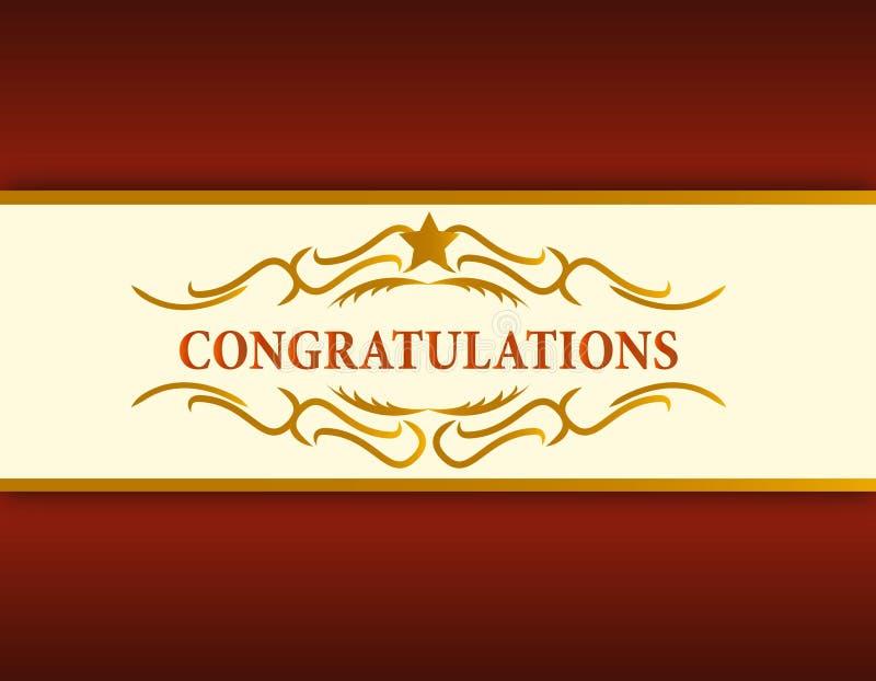 Download Gold Congratulations Card Illustration Stock Vector - Illustration of decorative, curl: 21356936