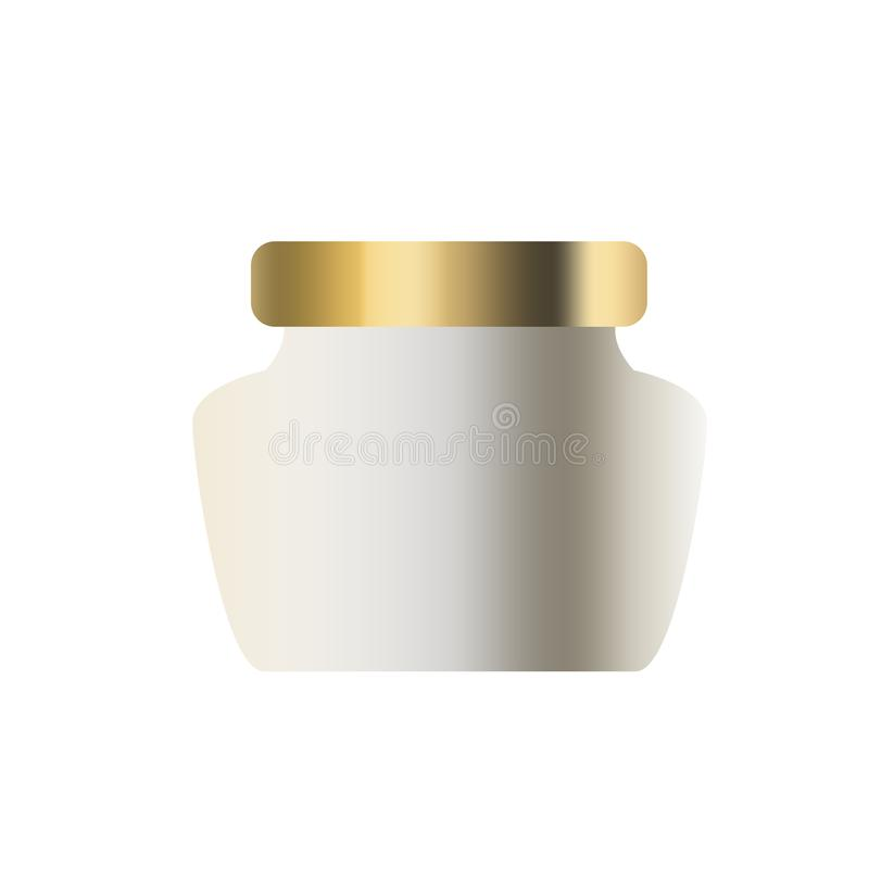 Gold cosmetic container for cream, powder, scrub, gel, wax. realistic packaging mock up template stock illustration
