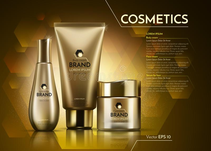Gold Cosmetics Vector realistic package ads template. Face and body cream products bottles. Mockup 3D illustration. Sparkling background royalty free illustration