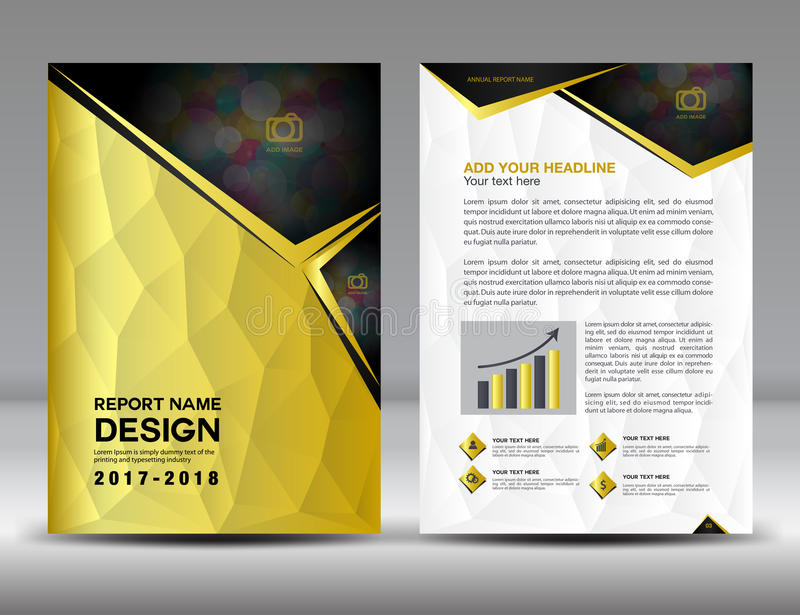 Gold Cover Annual report brochure flyer template. Creative design royalty free illustration
