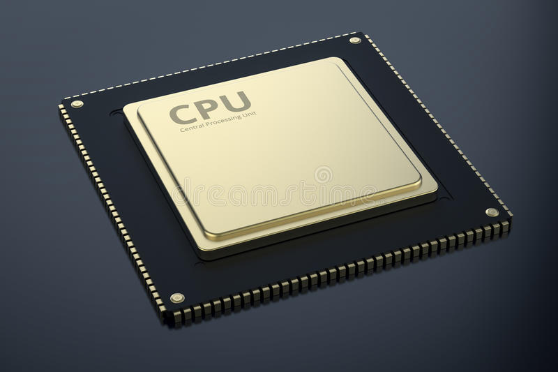 Gold cpu chip vector illustration