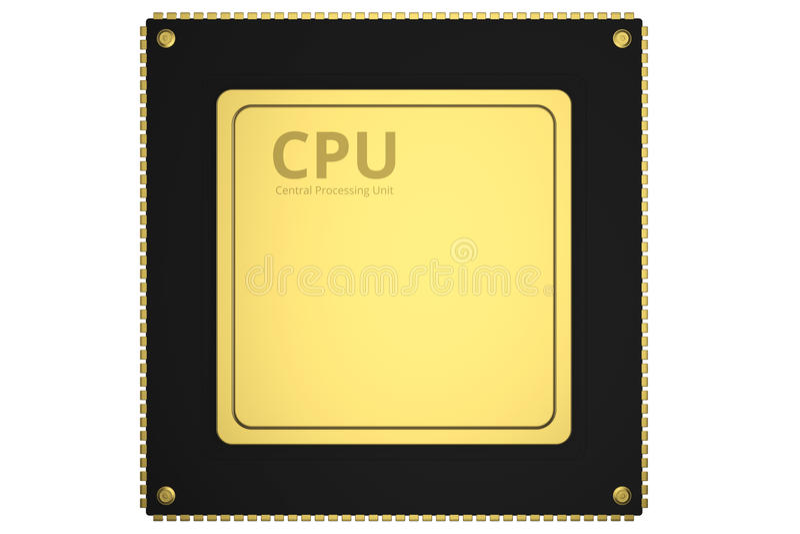 Gold cpu chip stock illustration