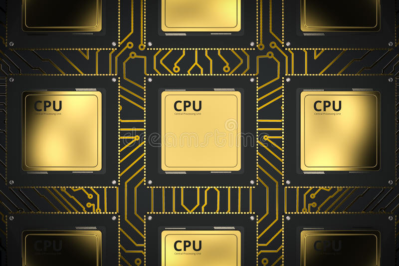 Gold cpu chips in a row royalty free illustration