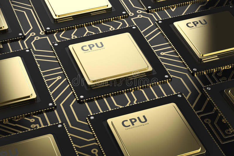 Gold cpu chips in a row stock illustration