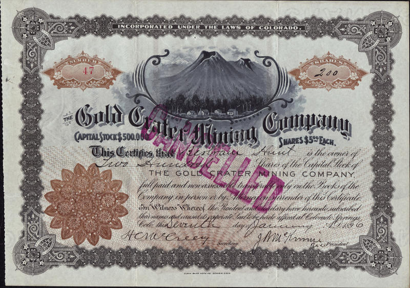 1896 The Gold Crater Mining Company Stock Certificate - Cripple Creek, Colorado. Rare Old West document stock photos