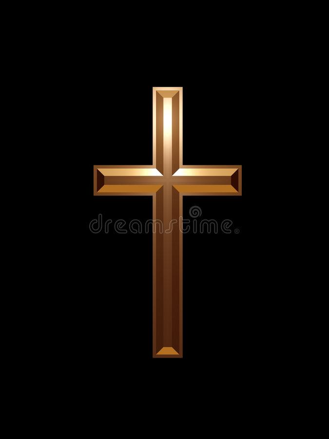 Gold cross. In black background vector illustration