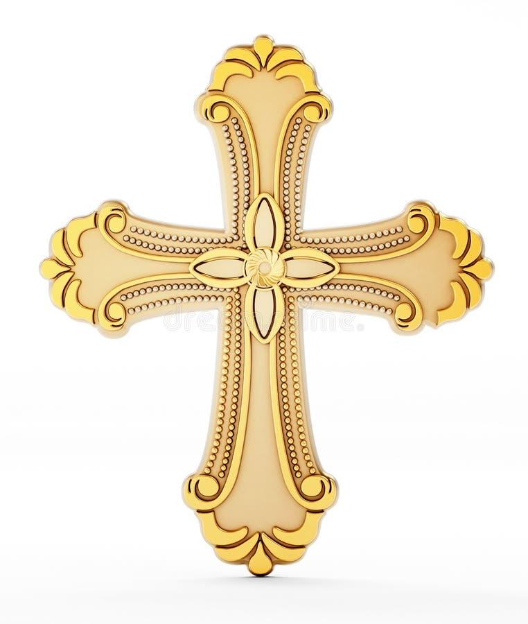 Gold Cross On White Background Stock Illustration