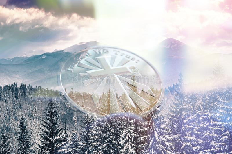 Gold Cross With Winter Background. High Quality stock illustration
