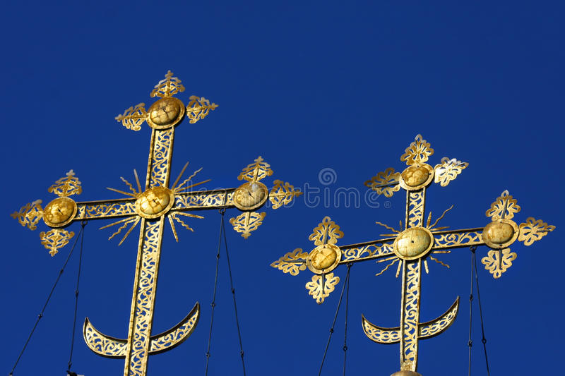 Download Gold crosses on blue skies stock image. Image of abbey - 26402079