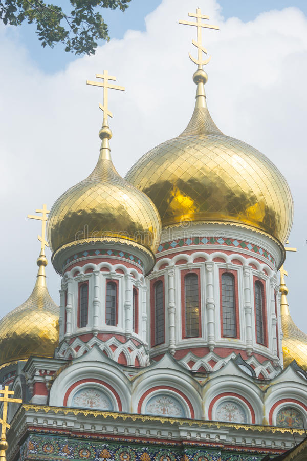 Gold crosses and domes royalty free stock photography