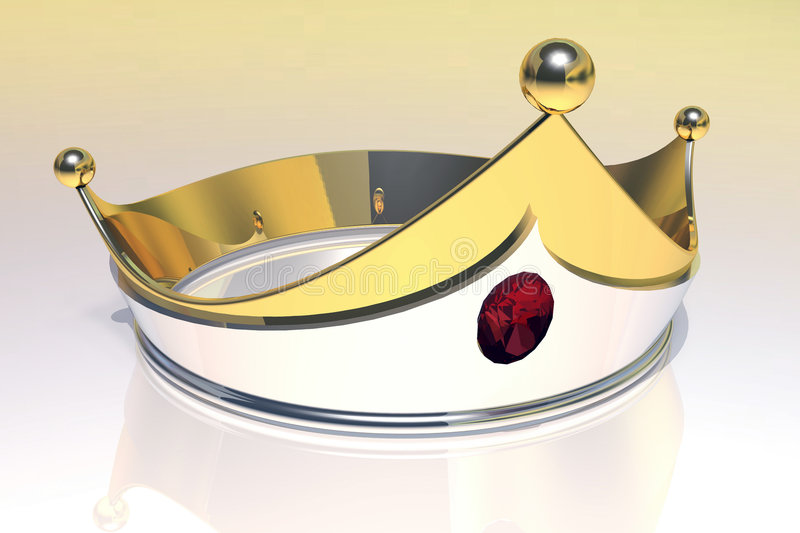 Gold Crown. 3D rendered Gold crown with central Ruby vector illustration