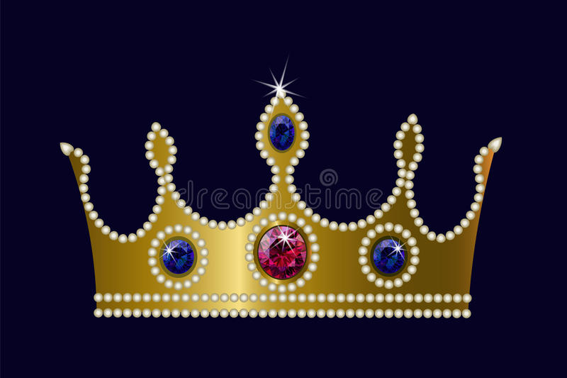 Gold crown on dark background ruby sapphire pearls. Vector. Illustration stock illustration