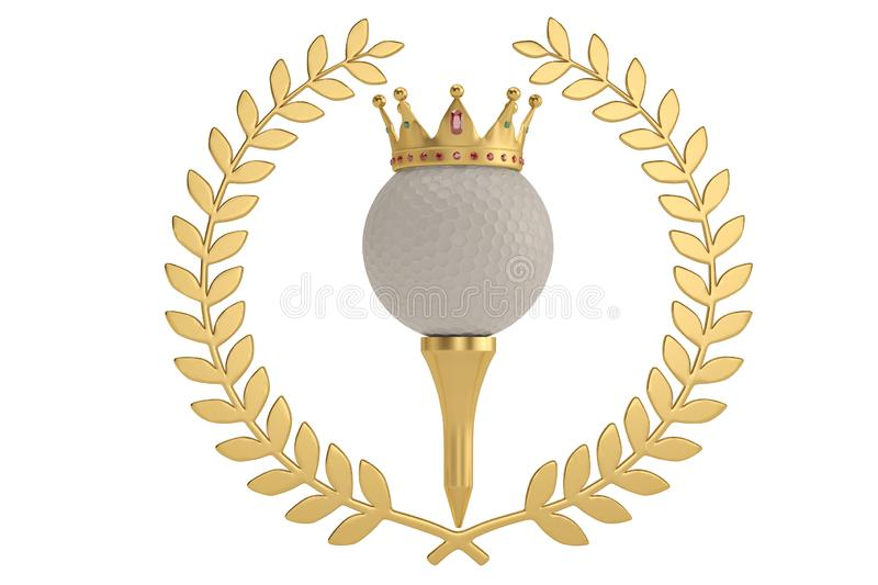 Gold crown on golf ball and golden olive branch isolatedon white. Background. 3D illustration stock illustration
