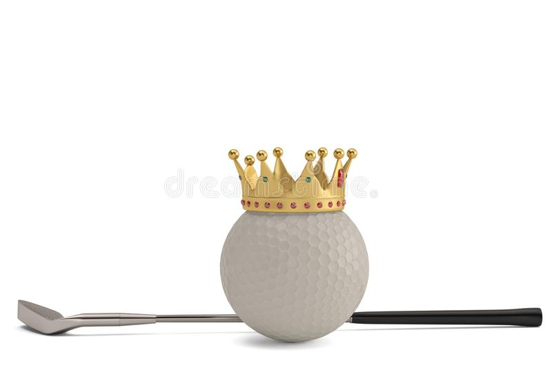 Gold crown on golf ball and golf club isolatedon white background. 3D illustration. vector illustration